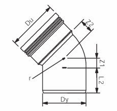 Wavin 75 mm 45° grå PP-afløbsbøjning