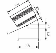 Wavin 32 mm 30° grå PP-afløbsbøjning