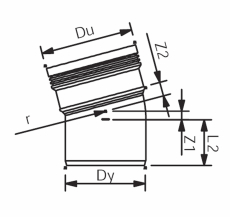 Wavin 110 mm 15° grå PP-afløbsbøjning