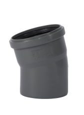 110 mm x 15° Bøjning afløb PP grå