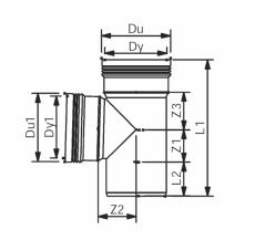 75 x 50 mm x 87,5° Grenrør afløb grå PP Wavin