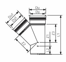 Wavin 40 mm 45° grå PP-afløbsgrenrør