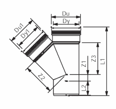 Wavin 75 mm 45° grå PP-afløbsgrenrør