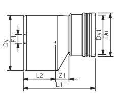 75 x 40 mm Reduktionsrør excentrisk lang afløb grå PP Wavin