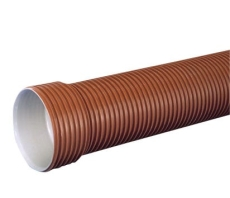 Uponor Rib2 315/277 x 3000 mm PP-rør m/muffe, SN8, u/gummiri