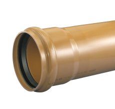 Wavin 160 x 6000 mm PVC-trykrør med muffe, PN6, rødbrun