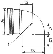 Wavin 160 mm 88 gr. PP-kloakbøjning, leveres i palle