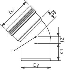 Wavin 160 mm 45 gr. PP-kloakbøjning, leveres i palle