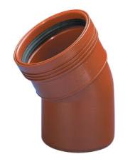 Wavin 110 mm 15 gr. PP-kloakbøjning, leveres i palle