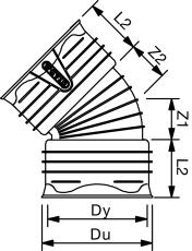 Uponor Double/Rib2 560 mm 30 gr. PP-bøjning, uden gummiringe