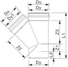 Wavin 315 x 250 mm 45 gr. PVC-kloakgrenrør