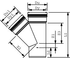 Wavin 160 x 160 mm 45 gr. PP-kloakgrenrør, leveres i palle