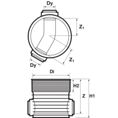 Wavin Tegra 250 x 600 mm TP1-brønd, glat, 30 gr. gennemløb