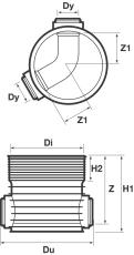 Wavin Tegra 250 x 600 mm TP1-brønd, glat, 60 gr. gennemløb