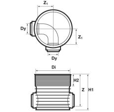 Wavin Tegra 200 x 600 mm TP1-brønd, glat, 90 gr. gennemløb