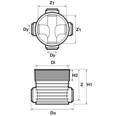 Wavin Tegra 160 x 600 mm TP2-brønd, glat, 2 x 90 gr. tilløb