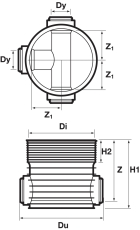 Wavin Tegra 315 x 600 mm TP3/4-brønd, glat, 1 x 90 gr. tillø