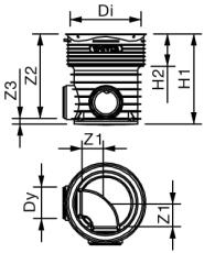 Wavin Tegra 200 x 425 mm TP1-brønd, glat, 90 gr. gennemløb