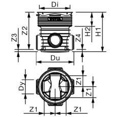 Wavin Tegra 160 x 425 mm TP2-brønd, glat, 2 x 90 gr. tilløb