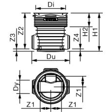 Wavin Tegra 200 x 425 mm TP3/4-brønd, glat, 1 x 90 gr. tillø