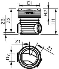 Wavin Tegra 200 x 425 mm TP1-brønd, glat, 30 gr. gennemløb
