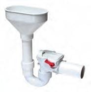 Kessel 50 mm overløbstragt med højvandslukke, gråt spildevan