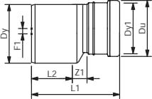 Wavin 500 x 400 mm PVC-kloakreduktion