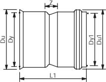 Wavin Rib/Rib2 315 mm PVC-overgang til glat spids, u/gummiri
