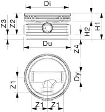 Wavin Tegra 250 x 1000 mm TP4-brønd, glat, 90 gr. højre till