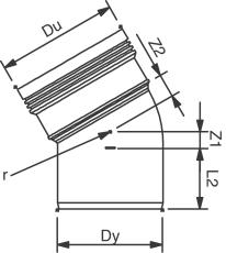 Wavin 200 mm 30 gr. PP-kloakbøjning