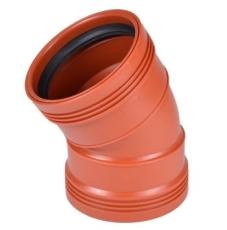 Wavin 110 mm 30 gr. PP-kloakbøjning med 2 muffer