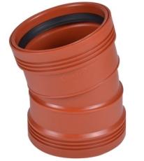 Wavin 110 mm 15 gr. PP-kloakbøjning med 2 muffer