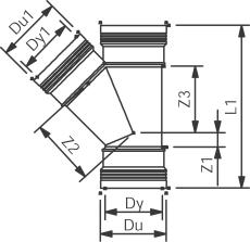 Wavin 110 x 110 mm 45 gr. PP-kloakgrenrør med 3 muffer