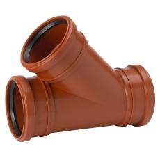 Uponor 110 x 110 mm 45 gr. PP-kloakgrenrør med 3 muffer