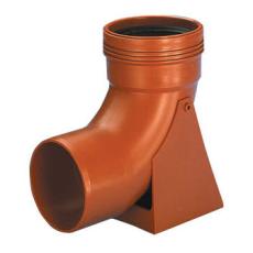 Wavin 110 mm 88 gr. PP-kloakfodbøjning, kort, rød