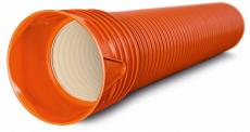 Wavin Rib 573/500 x 3000 mm PP-rør m/muffe, SN8, uden gummir