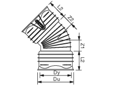 X-Stream DN250 15 gr. PP-bøjning, uden gummiringe