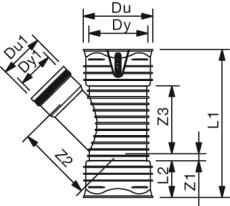 X-Stream DN400 x 160 mm 45 gr. PP-gren t/glat sp., u/gummiri