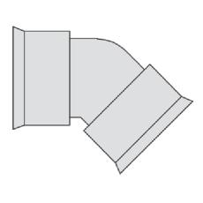 Hegler 353/300 mm 45 gr. bøjning, uden gummiringe