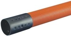 Wavin 50/42 mm PEH-kabelrør m/muffe, korr./glat, 6 m, orange