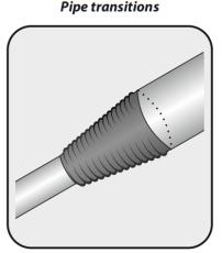 Fleksibelt rør 75-125 x 490-700 mm, sort, problemløser
