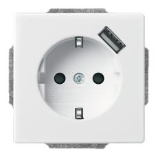 USB-Stikkontakt Schuko semi 16A/700mA 1M hvid
