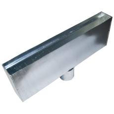 Duco udløbskasse 745 x 250 x 95 x 110 mm, galvaniseret stål