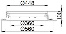 Duco 425 x 100 mm karm uden pakning, rund, fast, GG SORT