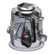 ACO Sinkamat-K 50 mm til installation i gulv, gråt spildevan