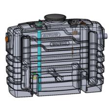 Wavin 4 l/s fedtudskiller m/alarm, 110 mm til-/afgang, over