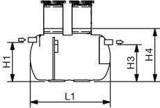 Wavin 15 l/s fedtudskiller u/alarm, 200 mm til-/afgang, i jo
