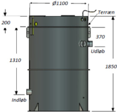 Biokube Venus 1850 1100 x 1850 mm minirenseanlæg, 5PE, SO