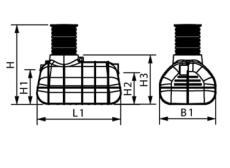 Wavin 2300 l 3-kammertank t/nedsivning med pumpe/sivstrenge,