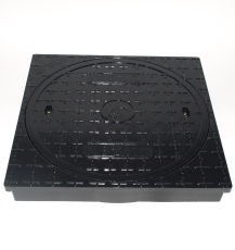 Lauridsen 600 mm karm/dæksel, firkantet, fast, 12,5 t, glasf